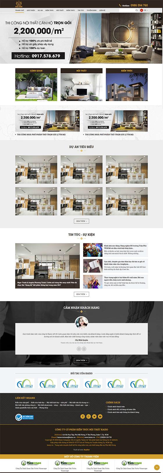 Trang chủ mẫu website bán hàng nội thất 01
