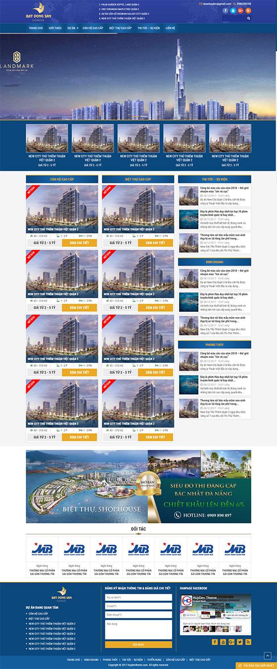 Trang chủ mẫu website bất động sản 02