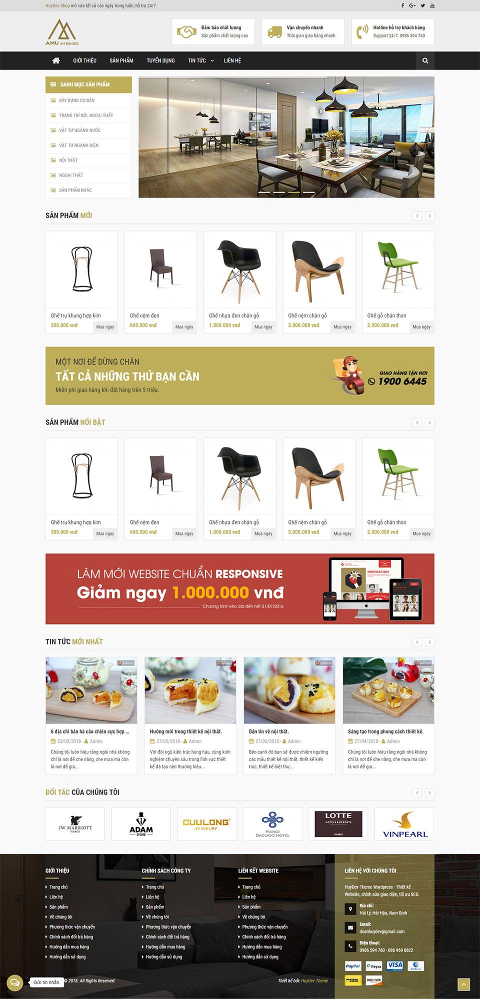 Trang chủ mẫu website bán hàng nội thất 03