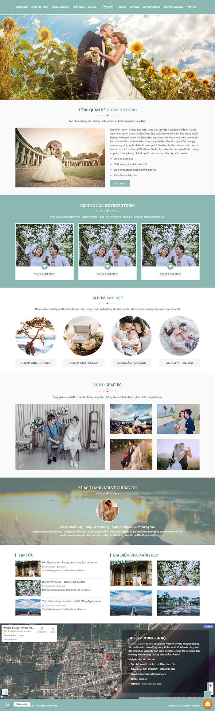 Trang chủ mẫu website ảnh viện áo cưới 01