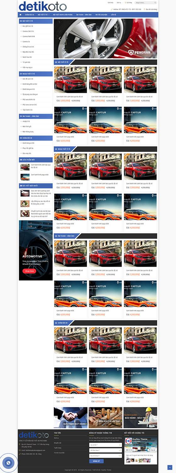 Trang chủ mẫu website ô tô 01