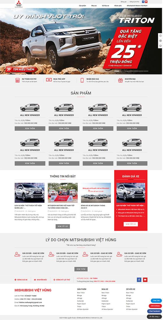 Trang chủ mẫu website ô tô 02