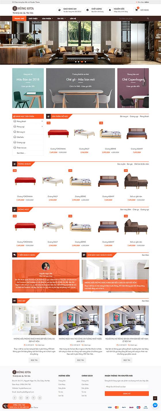 Trang chủ mẫu website bán hàng nội thất 06