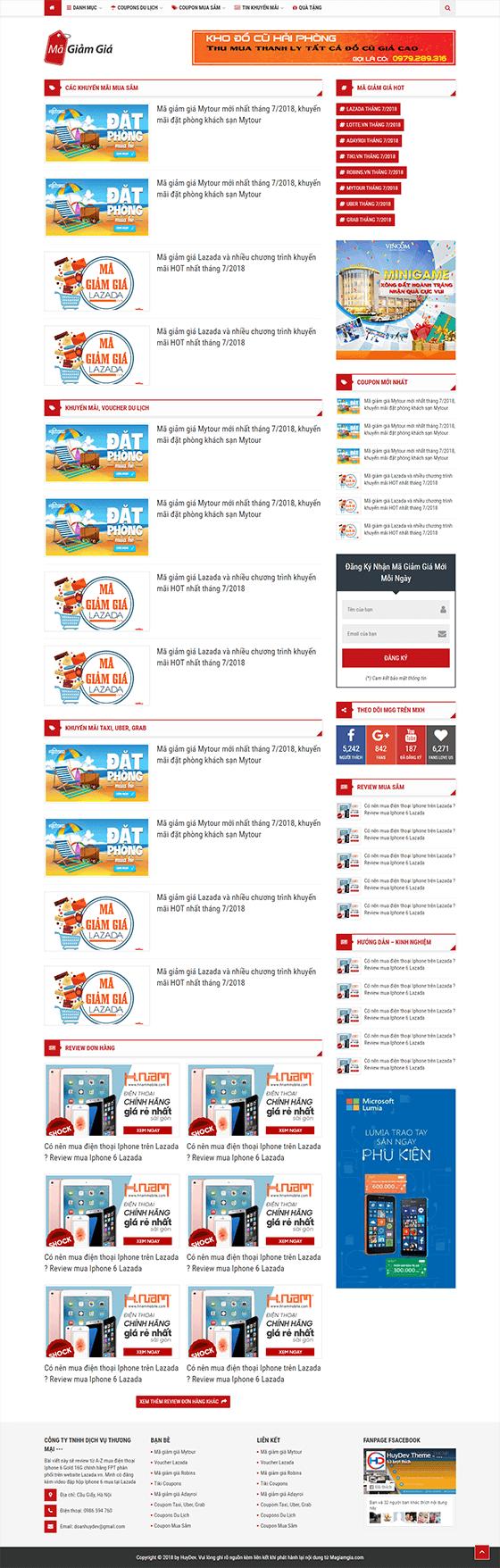 Trang chủ mẫu website chia sẻ coupon 01