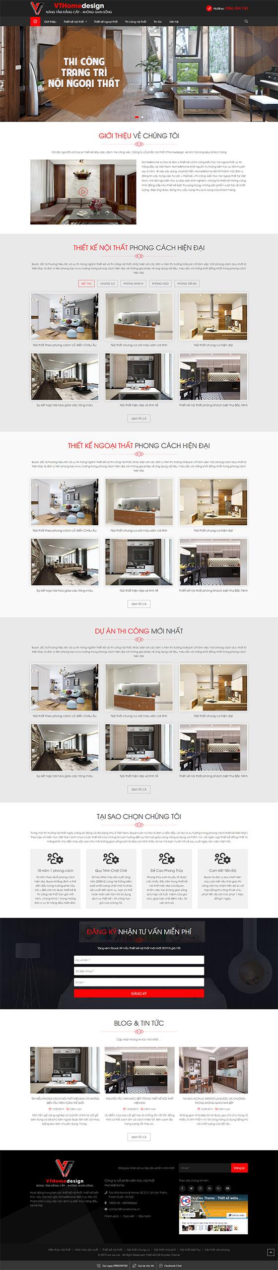Trang chủ mẫu website nội thất 08