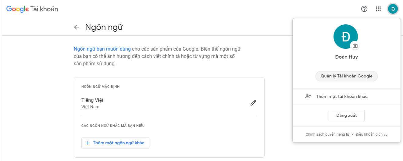 Chọn quản lý tài khoản google để bắt đầu thiết lập